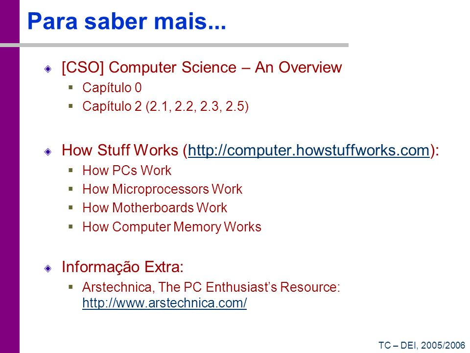 Para saber mais... [CSO] Computer Science – An Overview